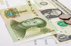 CNY chinese yuan. Quotations of of the RMB to the dollar on the foreign exchange market Stock Photo