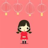 Cny girl. Chinese girl in cheongsam dress and many lamp on red background Stock Image