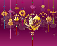 CNY monkey background with golden decoration Royalty Free Stock Photo