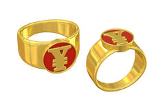 CNY sign gold ring of wealth. Unique luxury golden ring with a Renminbi (also named RMB and CNY, the official currency of China) mark seal on it. Isolated on Royalty Free Stock Photos