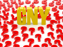 CNY sign surrounded by question marks. Stock Photo