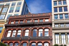 Coëxistentie van verschillende stijlen van stedelijke architectuur van de hoofdstad van de V.S. Stock Foto's