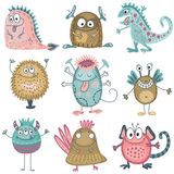 Собрание вектора красочных смешных чудовищ характеры милые иллюстрация вектора