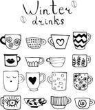 Собрание вычерченных чашек чаю и кофе Пить зимы иллюстрация вектора