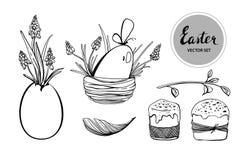Собрание пасхи с яйцами также вектор иллюстрации притяжки corel бесплатная иллюстрация