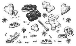 Собрание специи вычерченной сладкой еды руки душистой иллюстрация штока