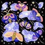 Собрание ярких сумеречниц и бабочек в ночи иллюстрация штока