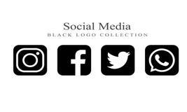 Собрание социальных логотипов средств массовой информации на черном цвете иллюстрация вектора