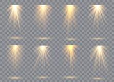 Собрание освещения сцены, прозрачные влияния Яркое освещение с фарами иллюстрация штока