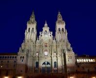 Собор, Santiago de Compostela, Испания ноча стоковое изображение