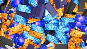 Современные полноэкранные умные телефоны по мере того как предпосылка 3d представляет иллюстрация штока