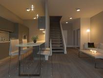 Современный интерьер кухни двухшпиндельной квартиры иллюстрация вектора