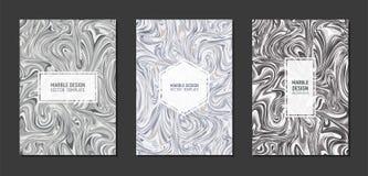 Современный мраморный дизайн крышки шаблонов в размере A4 Жидкостная мраморная текстура Жидкая серая шкала искусства также вектор бесплатная иллюстрация