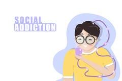 Социальная наркомания, мальчик играя мобильный телефон, образ жизни ослабляя, подростковый студента, персонажи из мультфильма пло иллюстрация вектора