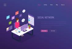 Социальная сеть, социальный маркетинг средств массовой информации, аналитик дела, цифровые онлайн сообщения иллюстрация штока