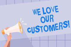 Сочинительство текста почерка мы любим наших клиентов Клиент смысла концепции заслуживает хорошее уважение удовлетворения обслужи иллюстрация вектора