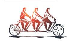 Coördinaat, samenwerking, groepswerk, fiets, concept achter elkaar Hand getrokken geïsoleerde vector stock illustratie
