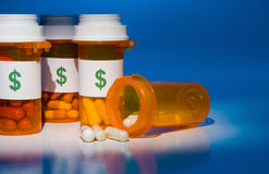 Coût élevé de médicament Image libre de droits