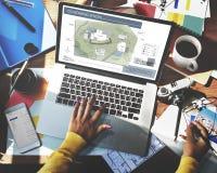 Co工作空间建筑学计划地图图纸设计观念 库存图片