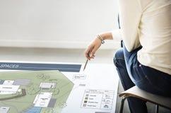 Co工作空间建筑学计划地图图纸设计观念 免版税库存照片