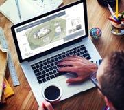 Co工作空间建筑学计划地图图纸设计观念 图库摄影