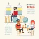 Co-arbete utrymme Det delade utrymmet som tillsammans arbetar vektor illustrationer