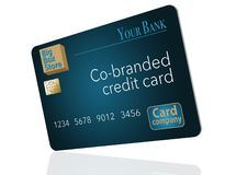 A Co-Branded credit card that is a mock card is shown here. A big box store, a bank and a credit card company teamed up to issue t. His mock card. It is an vector illustration