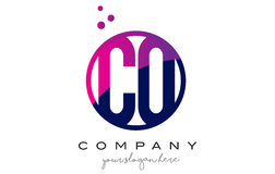 CO C O Circle Letter Logo Design with Purple Dots Bubbles Royalty Free Stock Images