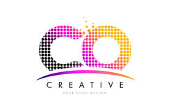 CO C O Letter Logo Design with Magenta Dots and Swoosh Stock Images