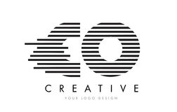 CO C O Zebra Letter Logo Design with Black and White Stripes Royalty Free Stock Images