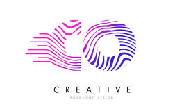 CO C O Zebra Lines Letter Logo Design with Magenta Colors Stock Photography