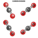 CO2 Carbon dioxide molecule. Chemical Structure.Four views Royalty Free Stock Images