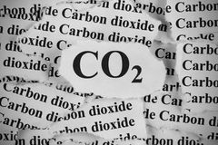 CO2. Carbon Dioxide. Torn pieces of paper with the words CO2 and Carbon Dioxide. Black and White. Close-up Royalty Free Stock Image