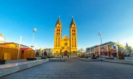 Co-Cathedral of Our Lady in Nyiregyhaza city, Debrecen. NYIREGYHAZA, HUNGARY - DECEMBER 13, 2016: Facade of Co-Cathedral of Our Lady of the Hungarians in Stock Photos