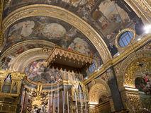 The Co Cathedral of St John in Malta. The main Church of the 365 churches of Malta is so ornately decorated that it is amazing Royalty Free Stock Image