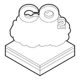 CO2 cloud icon in outline style Royalty Free Stock Image