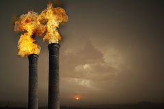 Co2 contamination. From chimneys of a plant Stock Photos