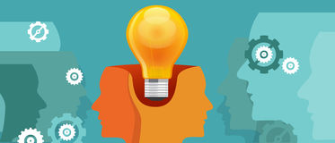 Co-creation think work collaboration two heads with one idea. Vector Royalty Free Stock Images