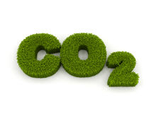 Co2 3d illustration. Co2 green grass 3d letters isolated on white stock illustration