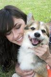Cão da menina Imagens de Stock Royalty Free
