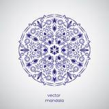 Co de mandala de fleur tirée par la main ornementale, blanche et bleue orientale Photos libres de droits