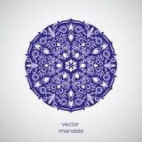 Co de mandala de fleur tirée par la main ornementale, bleue et blanche orientale Image stock