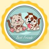 Cão e Cat Best Friends Poster Fotos de Stock Royalty Free