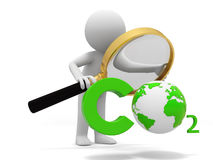 Co2 and earth. A people observe a CO2 symbol with a Magnifying glass vector illustration