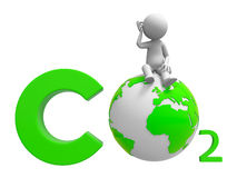Co2 and earth. A people standing on a CO2 symbol royalty free illustration