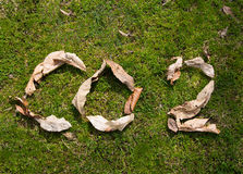 Co2 emission. S made of leaves on green grass. Ecological sign on global warming and climate change. Greenhouse gas emissions. Carbon dioxide pollution sign Stock Image