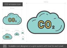 CO2 emission line icon. CO2 emission vector line icon isolated on white background. CO2 emission line icon for infographic, website or app. Scalable icon royalty free illustration