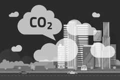 CO2 emissions by big city vector illustration, flat cartoon urban scene or carbon dioxide emission or pollution clouds Royalty Free Stock Photo