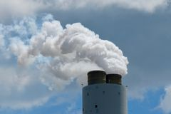 CO2 Emissions from a coal-fired plant. stock photos