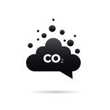 Co2 emissions icon. Cloud vector flat, carbon dioxide emits symbol Royalty Free Stock Image
